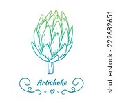 hand drawn gradient artichoke   Shutterstock .eps vector #222682651