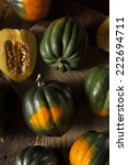 Small photo of Raw Organic Green and Orange Acorn Squash