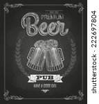 poster with beer in mag. chalk... | Shutterstock .eps vector #222697804