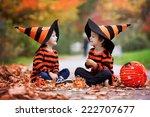 Stock photo two boys in the park with halloween costumes having fun 222707677