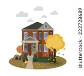 two story autumn house with... | Shutterstock .eps vector #222728689