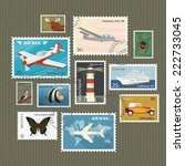 retro postage stamps collection ... | Shutterstock .eps vector #222733045