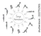 set of sun salutation yoga... | Shutterstock .eps vector #222751501