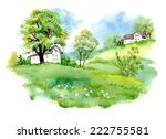 landscape with houses ... | Shutterstock .eps vector #222755581