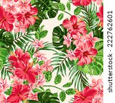 Stock vector seamless exotic pattern with tropical leaves and flowers on a white background plumeria 222762601
