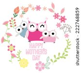 happy mothers day with cute... | Shutterstock .eps vector #222768859