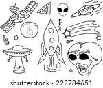 ufo doodle cartoon. space...