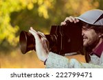 a man wearing a cap with an old ... | Shutterstock . vector #222799471