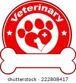 veterinary red circle label... | Shutterstock .eps vector #222808417