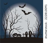 halloween party scary full moon ... | Shutterstock .eps vector #222813091
