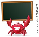Cute Crab Holding Blank Sign....