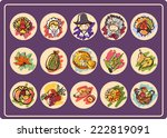 set of 15 round icons on... | Shutterstock .eps vector #222819091