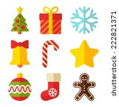 colored merry christmas icon | Shutterstock .eps vector #222821371