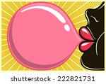 bubble gum black girl  african... | Shutterstock .eps vector #222821731