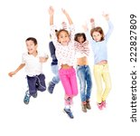little kids jumping isolated in ... | Shutterstock . vector #222827809