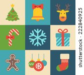 merry christmas icons   Shutterstock .eps vector #222840925