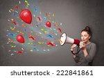 young girl having fun  shouting ... | Shutterstock . vector #222841861