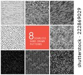 8 Seamless Hand Drawn Patterns