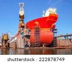 ship bow forward on dry dock i... | Shutterstock . vector #222878749