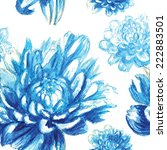 Blue Watercolor Chrysanthemum...