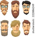 hipster men wearing cool beard... | Shutterstock .eps vector #222886249