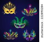mardi gras carnival masks... | Shutterstock .eps vector #222890284