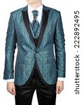 Wedding Turquoise with floral ornaments, men's suit for the groom, or prom, isolated on white background. - stock photo