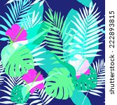 exotic tropical leaves pattern. | Shutterstock .eps vector #222893815