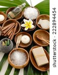 wooden bowl of flower with... | Shutterstock . vector #222894454