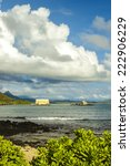 Small photo of View of Makai Research Pier in Waimanalo Bay with Koolau mountain range in the distance on Oahu, Hawaii