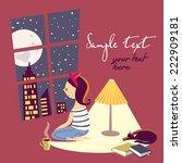 girl by window | Shutterstock .eps vector #222909181