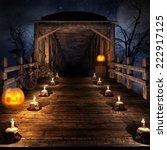 wooden bridge on the night of ... | Shutterstock . vector #222917125