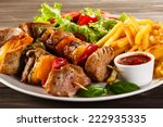 grilled meat and vegetables | Shutterstock . vector #222935335