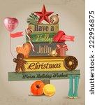 wood christmas tree card   Shutterstock .eps vector #222956875