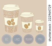 coffee cup size vector poster... | Shutterstock .eps vector #222964729