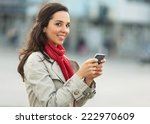 beautiful young woman on the... | Shutterstock . vector #222970609