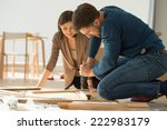 couple moving in new home house.... | Shutterstock . vector #222983179