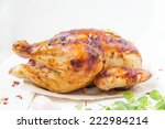 whole roasted chicken   Shutterstock . vector #222984214