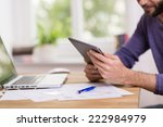 man working on a handheld... | Shutterstock . vector #222984979