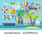 travel vacation flat design set.... | Shutterstock .eps vector #222996415