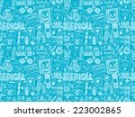 seamless doodle medical pattern | Shutterstock .eps vector #223002865