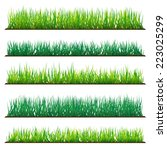 5 backgrounds of green grass ... | Shutterstock .eps vector #223025299