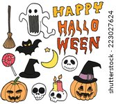 halloween icon set  vector | Shutterstock .eps vector #223027624