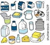 vector set of milk product   Shutterstock .eps vector #223027639