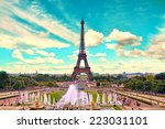 eiffel tower and fountain at... | Shutterstock . vector #223031101