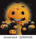 colorful halloween illustration ... | Shutterstock . vector #223034185