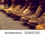 brown vintage leather boots... | Shutterstock . vector #223037257