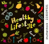 healthy lifestyle icons set... | Shutterstock .eps vector #223039531