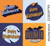 vector halloween retro set... | Shutterstock .eps vector #223039795
