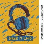 old headphones vector graphic... | Shutterstock .eps vector #223040905